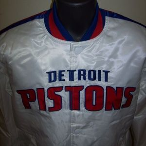 DETROIT PISTONS STARTER Snap Down WHITE JACKET